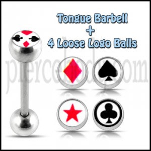 Tongue Barbell with 4 Free Black And Red Logo Ball