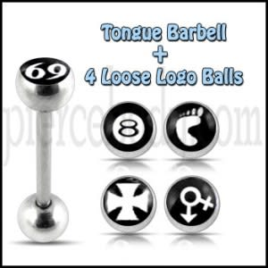 Tongue Barbell with 4 Free Ancient Logo Ball