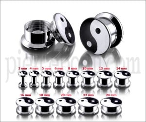 SS Internal Screw Fit With Ying Yang Logo Ear Tunnel