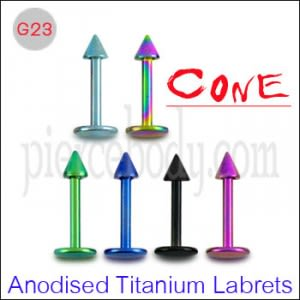 G23 Grade Anodised Titanium Labrets with cone