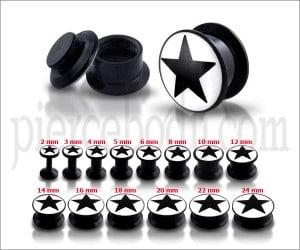 Black UV Internal Black Star Logo With Screw Fit Ear Tunnel