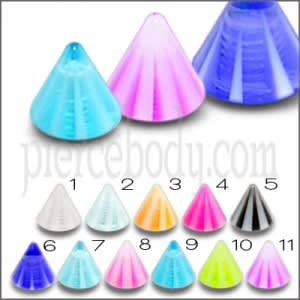 Assorted Color UV Fancy Cones Bioflex For Lip Chin Eyebrow Piercing UVC011