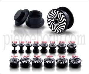 Black UV Internal Eye Swirl Logo With Screw Fit Ear Tunnel