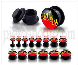 UV Internal Flame Logo With Black Screw Fit Ear Tunnel Expander
