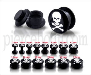 Black UV Internal White Skull Logo With Screw Fit Ear Tunnel