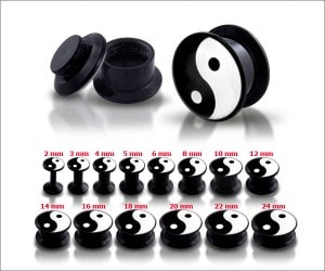 Black UV Internal Ying Yang Screw Fit Ear Tunnel