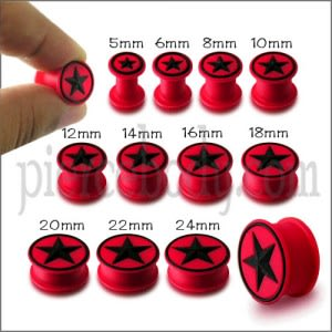 Embossed Black Star Silicone Red Ear Plug