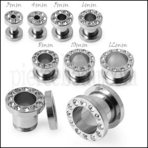 SS Screw Fit Jeweled Flesh Tunnel