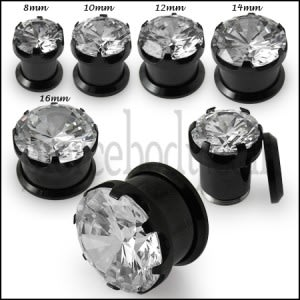 Blackline Screw Fit Single Jeweled Flesh Tunnel