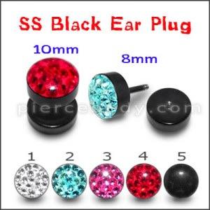 Blackline Red Crystal stone Ear Plug