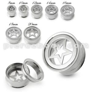 Star Plate Top Screw Fit Flesh Tunnel