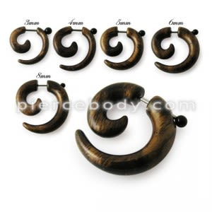Fancy Brown UV Acrylic Spiral Fake Ear Plug Expander