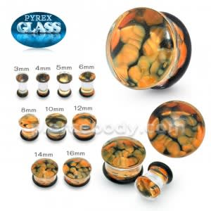 Orange Pebble Pyrex Glass Ear Plug
