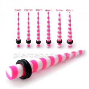 Pink Stripe Straight Ear Expander