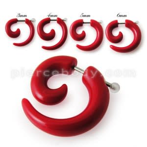 Red UV Acrylic Spiral Fake Ear Plug Expander