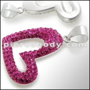Pink Crystal stone Studded Heart Silver Pendent