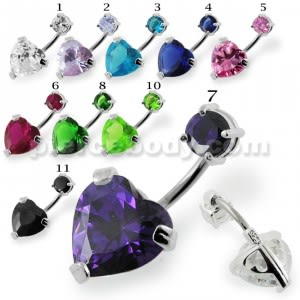 Jeweled Heart Spinal belly button jewelry