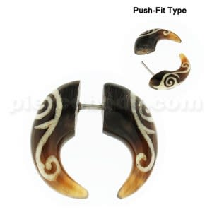 Organic Horn with Tribal Face Inlay Invisible Fake Ear Plug Gauges