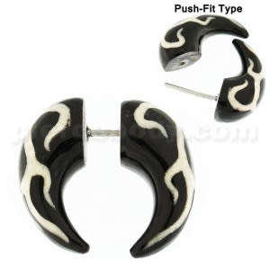 Organic Horn with Tribal Inlay Fake Ear Plug Gauges