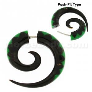 Green Inlay Organic Horn 6 mm Spiral Fake Ear Plug