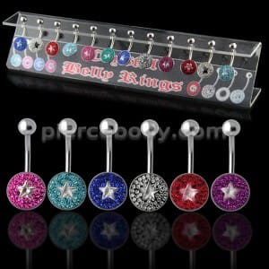 Multi Crystal Stone Navel bar with a Star Center Stone in a Display