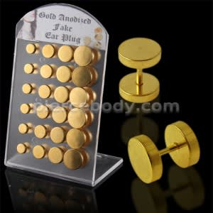 Gold Anodized Disc Fake Invisible Ear plug in a Display