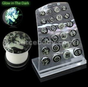 Single Flared Glow in Dark Ear Plugs in a Display