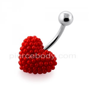 Tiny Red Pearl balls Heart Navel Banana