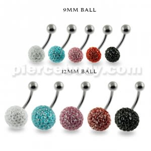 Multi Jeweled Genuine CZ belly button ring