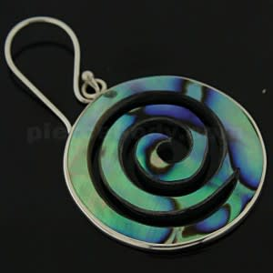 925 Sterling Silver Swirl Round Mother Of Pearl Ear Ring