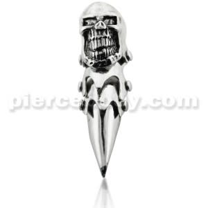 Full Finger Pewter Big Laughing Skull Armor Ring