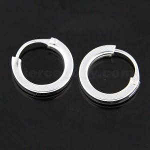 925 Sterling Silver 10 mm Round Hoop Earring
