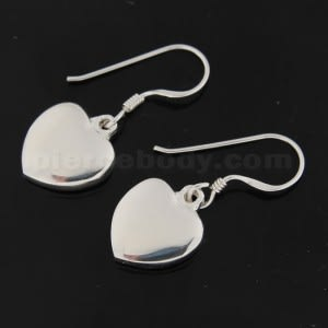 925 Sterling Silver Jeweled Plain Heart Hook Earring