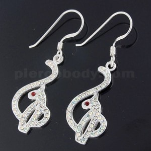 925 Sterling Silver Jeweled Red Eyed Baby Phat Hook Earring