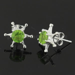 925 Sterling Silver Jeweled Fancy Star Ear Stud