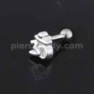 925 Sterling Silver Ohm Sign Cartilage Tragus Piercing