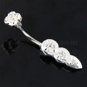 Jeweled Tri Tear Drops Sterling Silver Eyebrow Bar