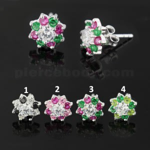 10 mm Mixed Colors Flower 925 Sterling Silver Ear Stud Earring