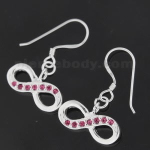 Jeweled Trendy Infinitive 925 Sterling Silver Hook Earring