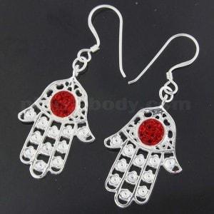 Center jeweled Hamsa Hand 925 Sterling Silver Hook Earring