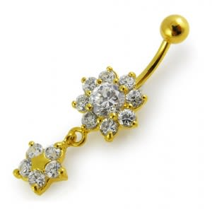 14G 10mm Yellow Gold Platted Sterling Silver Clear Jewel Flower Star Belly Ring