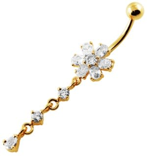 14G 10mm Yellow Gold Platted SterlingSilver Clear Jewel Flower Curve Belly Ring