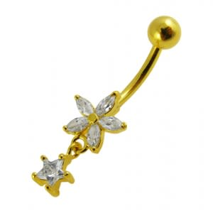 14G 10mm Yellow Gold Platted Sterling Silver Clear Jewel Star Charms Belly Ring