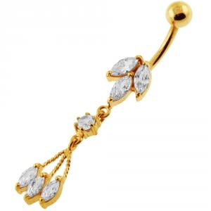 14G 10mm Yellow Gold Platted Silver Clear Jeweled Moving Fancy Belly Ring