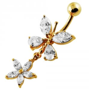 14G 10mm Yellow Gold Platted Silver Clear Jewel Butterfly W/ Flower Belly Ring