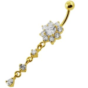 14G 10mm Yellow Gold Platted Sterling Silver Clear Flower Design Belly Ring