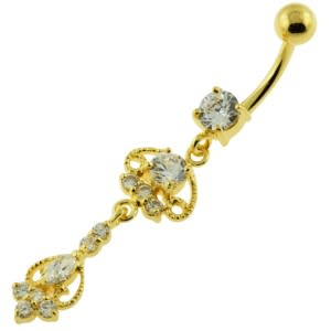 14G 10mm Yellow Gold Platted 925 Sterling Silver Clear Design Moving Navel Belly Ring