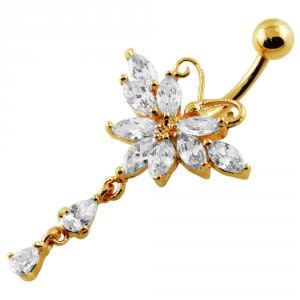 14G 10mm Yellow Gold Platted Sterling Silver Clear Jewel Butterfly Belly Ring