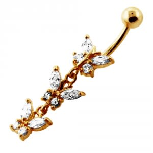 14G 10mm Yellow Gold Platted Silver Clear Jeweled Fancy 3 Butterfly Belly Ring