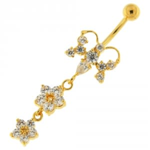 14G 10mm Yellow Gold Platted Silver Clear Jewel Butterfly 2 Flower Belly Ring